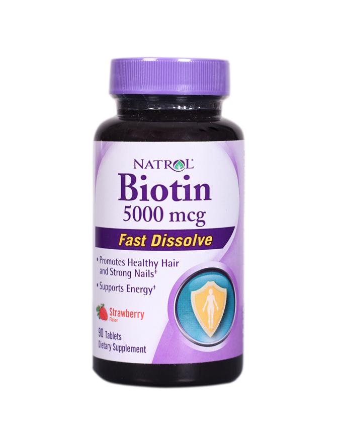 Natrol Biotin Fast Dissolve Tablets, Strawberry Flavor, 5000MSG, 90CAP